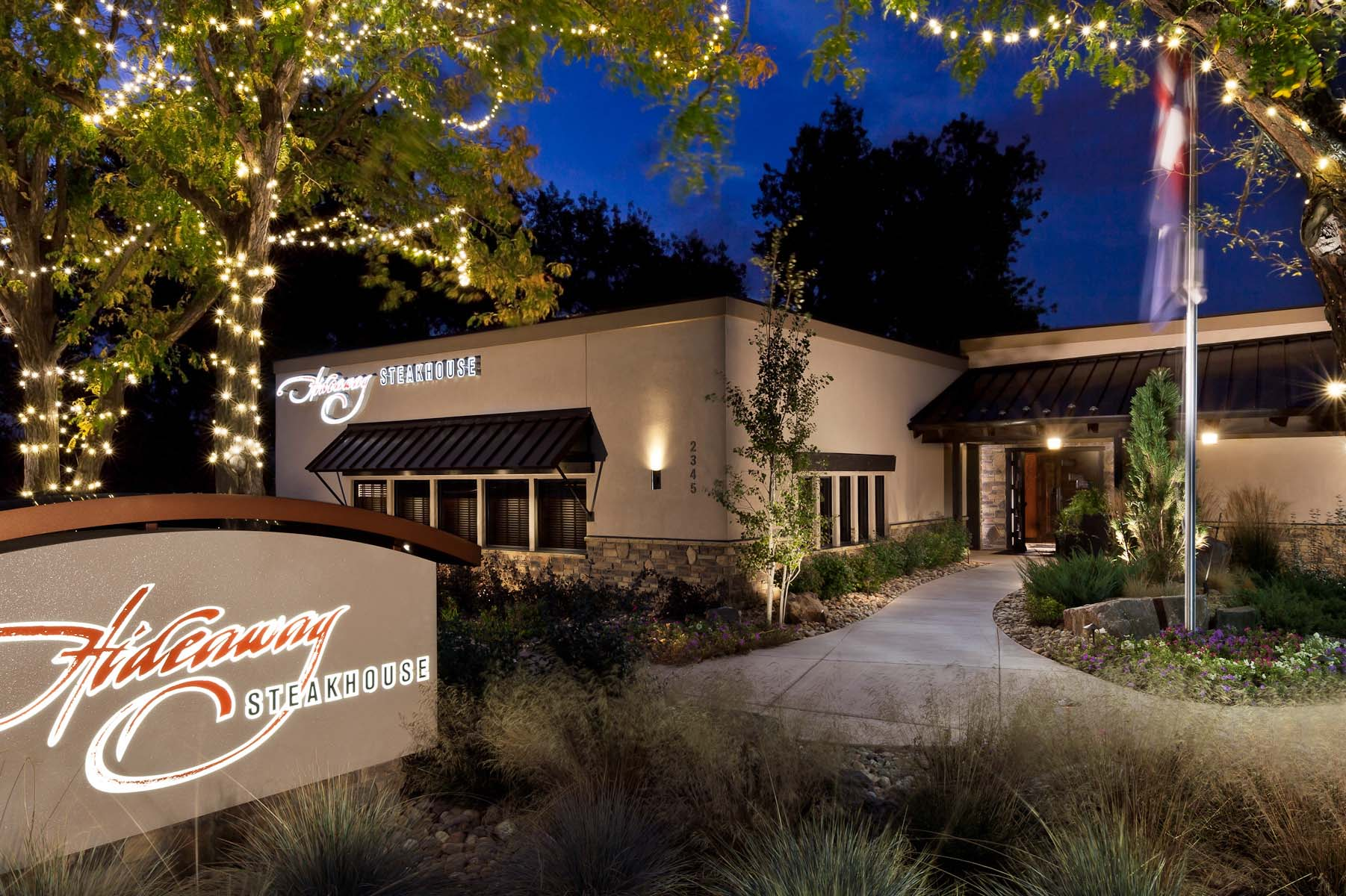 Exterior architectural photo of Hideaway Steakhouse in Westminster, CO