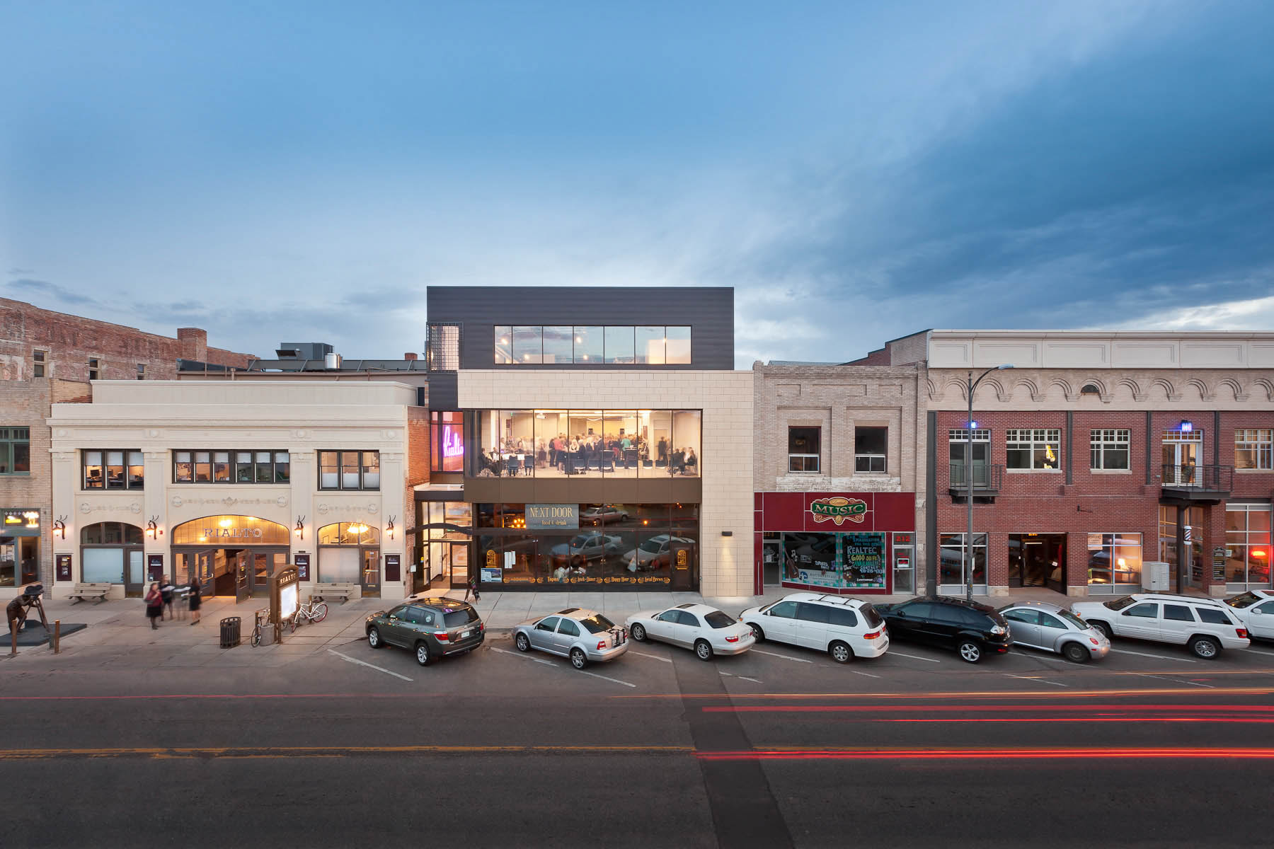 Exterior architectural elevation photo of RB+B Architects' Rialto Theater Renovation in Loveland, CO