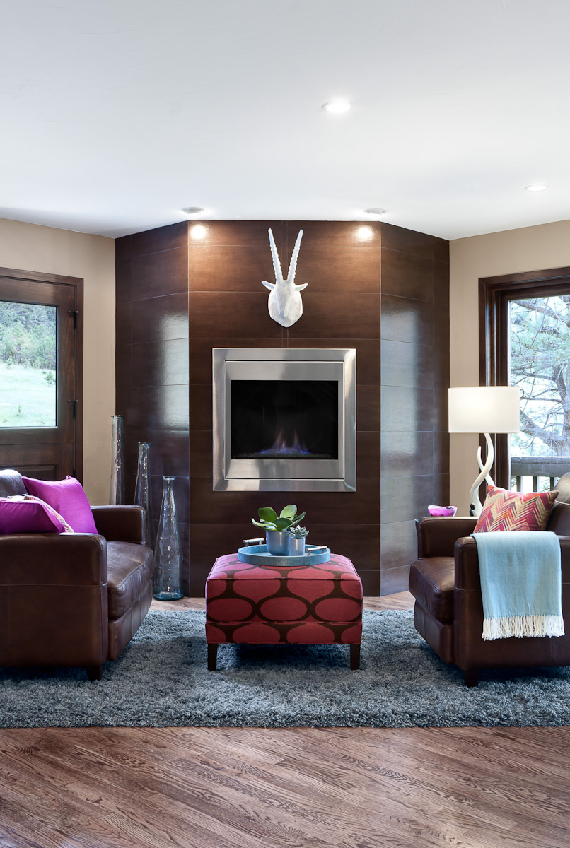 Fireplace in a room designed and appointed by TruDesign Interior Design services in Golden, CO.