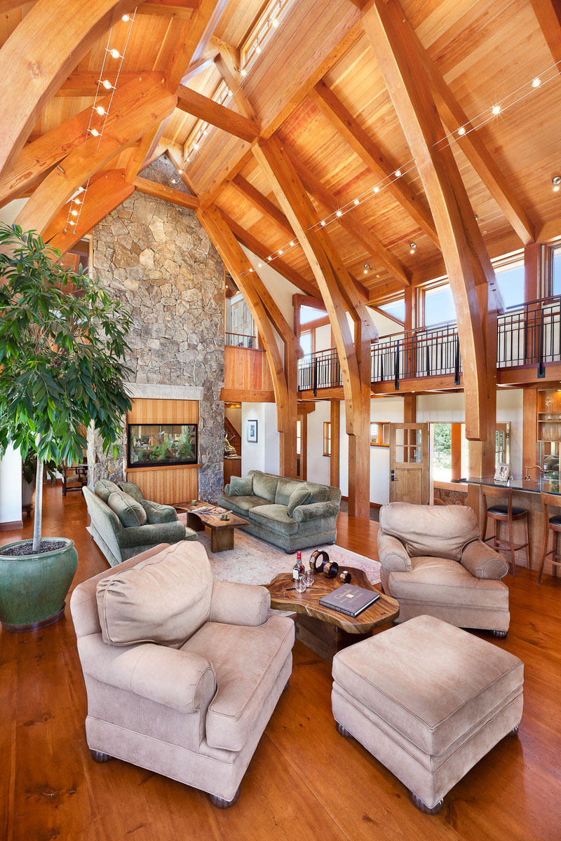 Cathedral style great room in Whisper Mountain Ranch designed by Arcadea Architecture in Gold Hill, CO