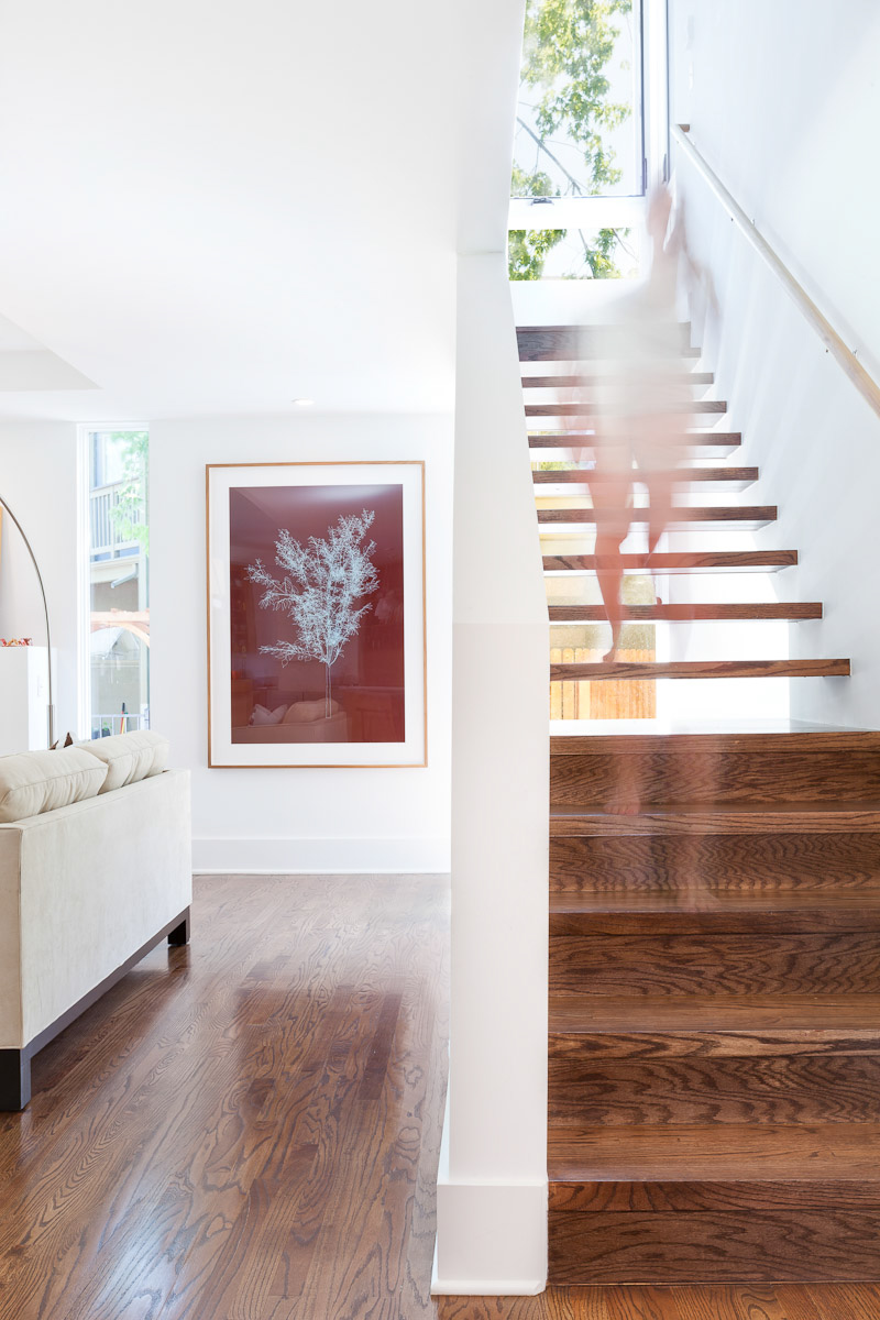Interior residential architectural photo of bldg.collective staircase renovation in Boulder, CO