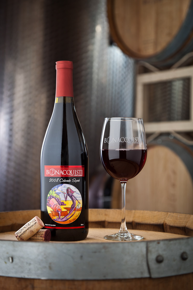 On location product photo of Bonacquisti Wine Company's Syrah in Denver, CO