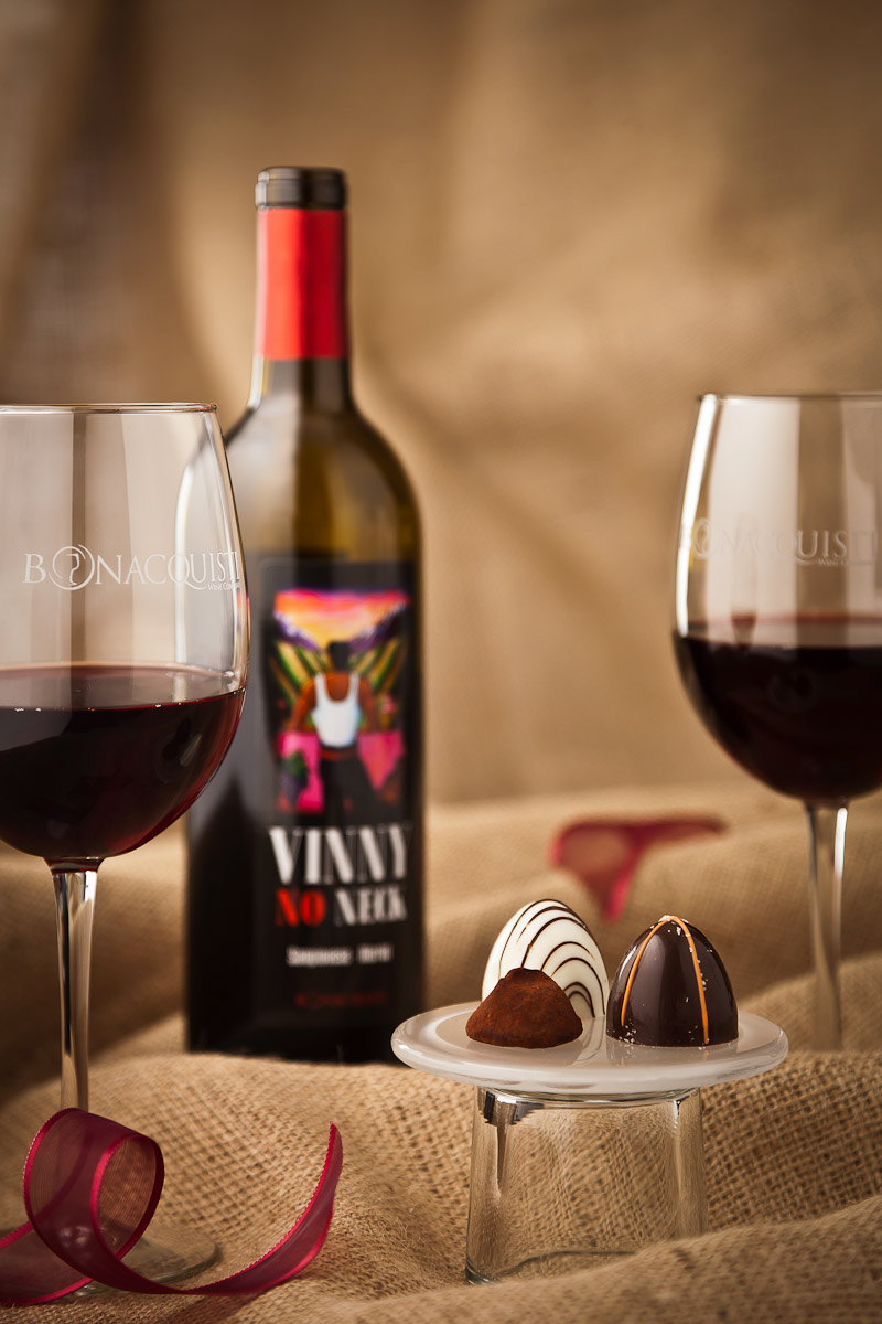 In studio shot of Bonacquisti Wine Company's Vinny No Neck with Roberta's chocolates used for promotion of annual wine and chocolate tasting event