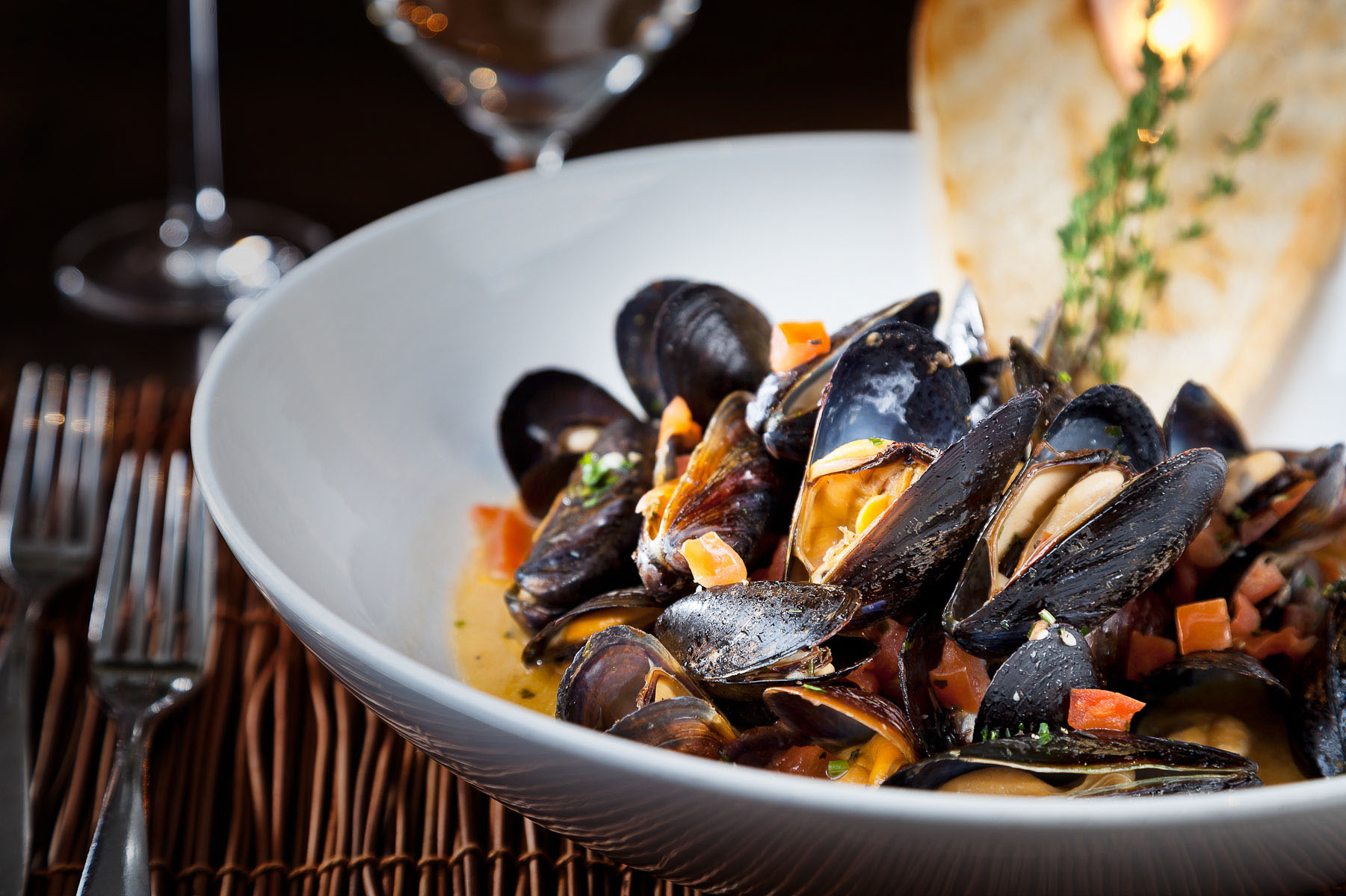 A bowl of mussels prepared by Chef Todd Adkins of Hideaway Steakhouse in Westminster, CO