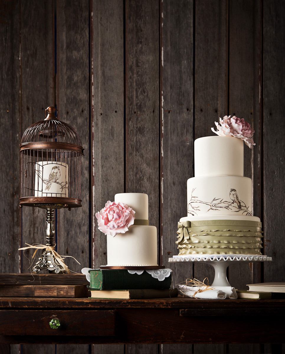 Wedding cakes designed by Rachel Teufel of Intricate Icings for a vintage theme in Erie, CO