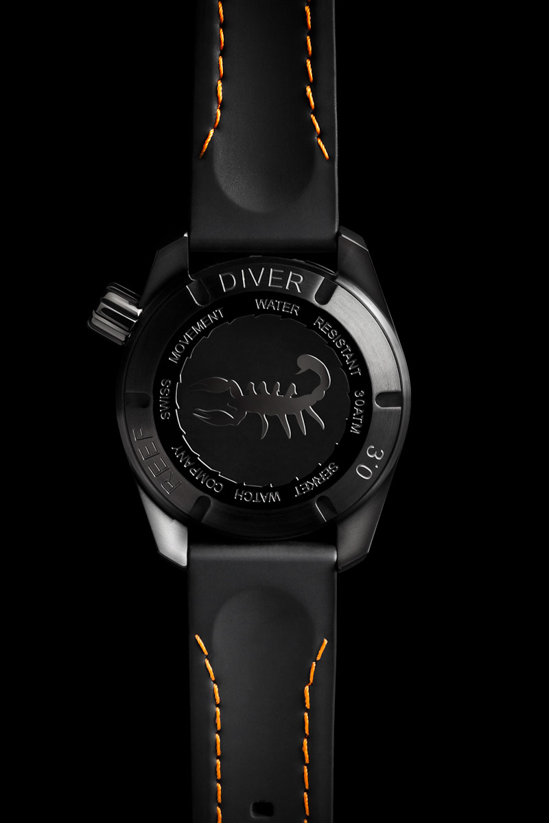 Reverse side of Serket Watch Company Reef Diver 3.0 PVD Black Steel photographed for advertising, web, and print collateral