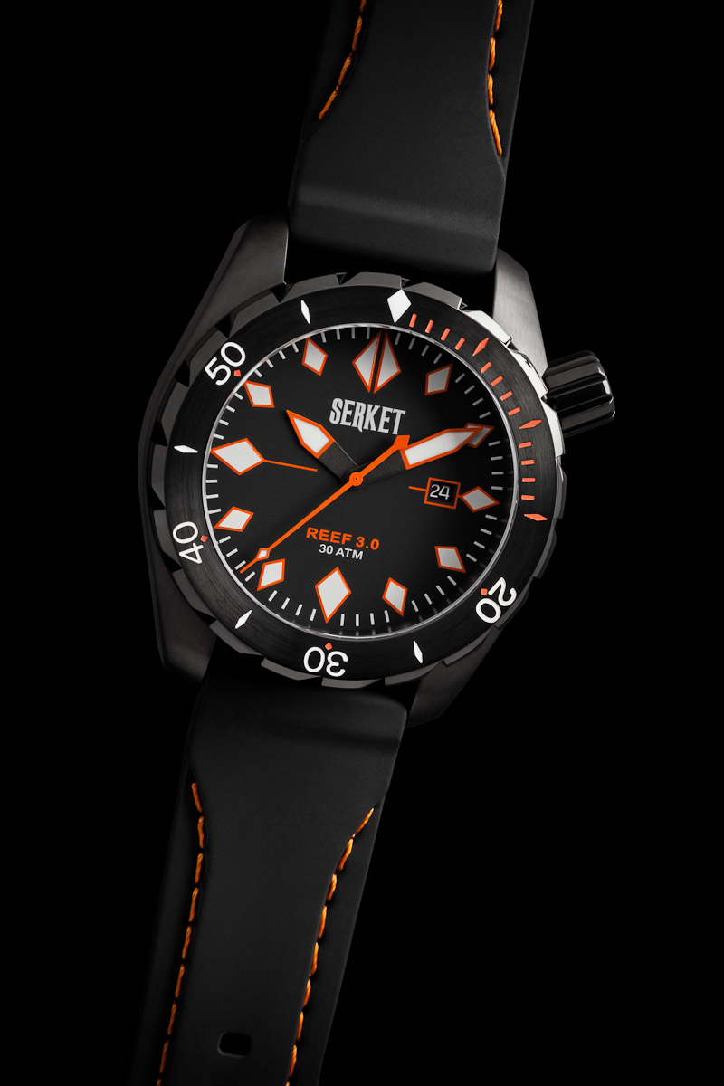 Serket Watch Company Reef Diver 3.0 PVD Black Steel photographed for advertising, web, and print collateral