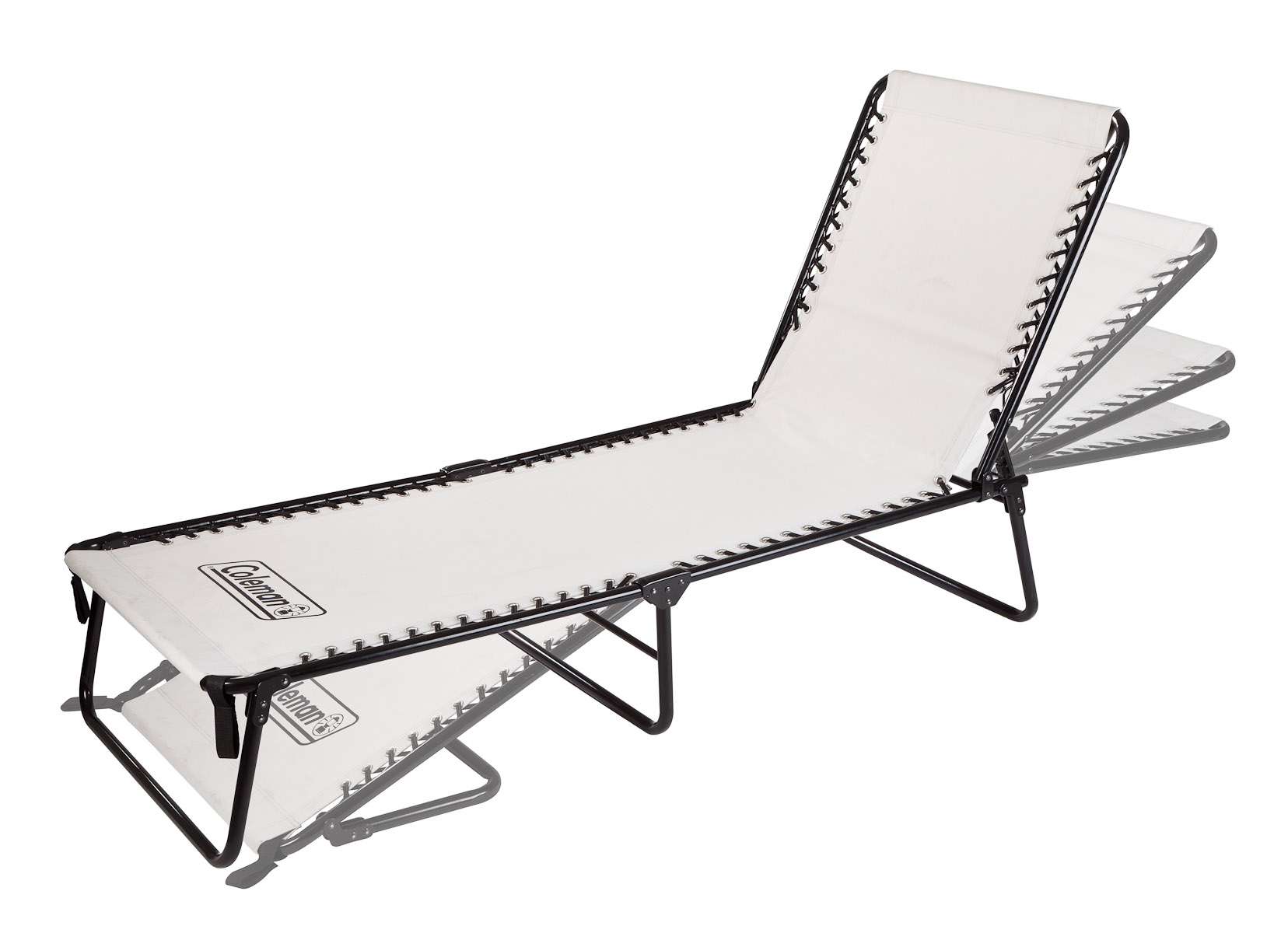 Hero photo of a Coleman Folding Chaise Lounge photographed in studio for product packaging, print collateral, and advertising
