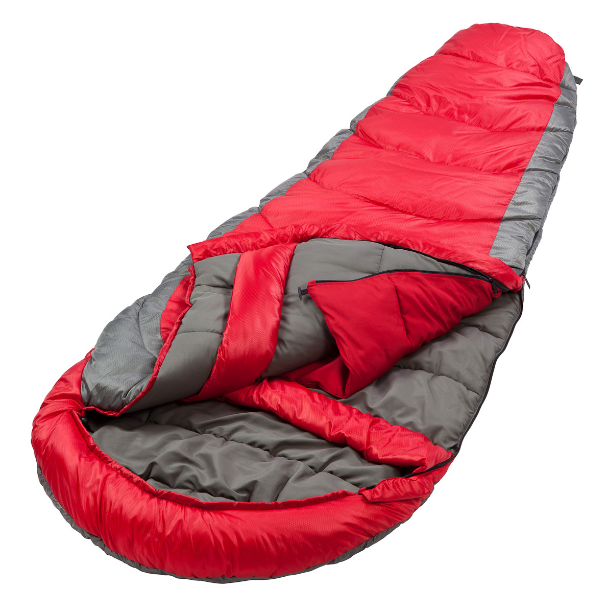 A hero shot of a Coleman mummy sleeping bag photographed in studio for product packaging, print collateral, and advertising