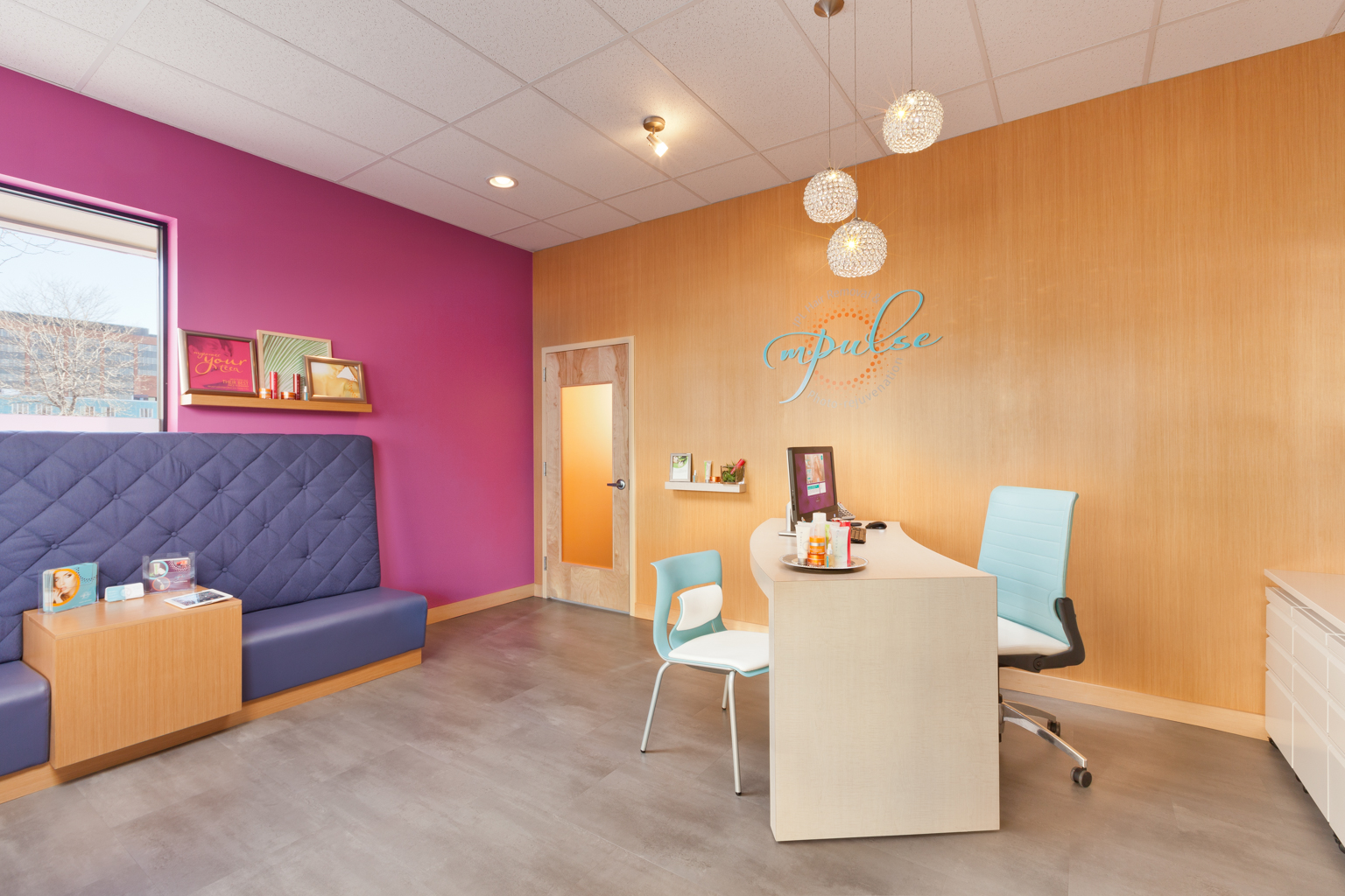 Brightly colored reception space at Mpulse, in Cherry Creek, CO