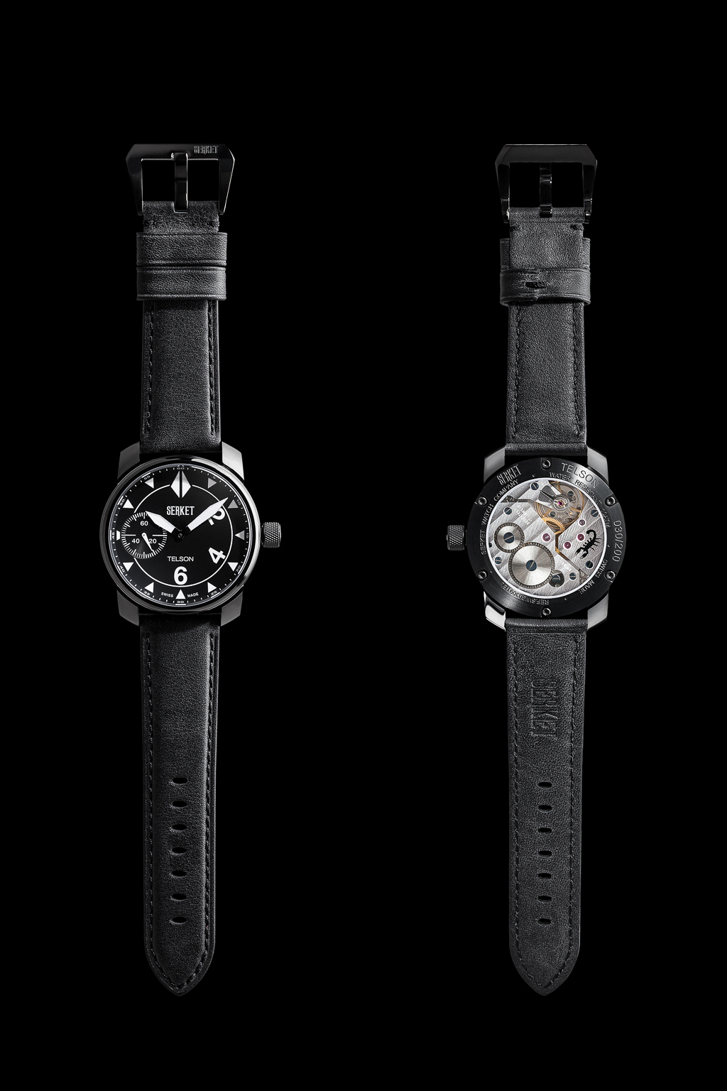 Front and Back of Serket Watch Company Telson photographed for advertising, web, and print collateral