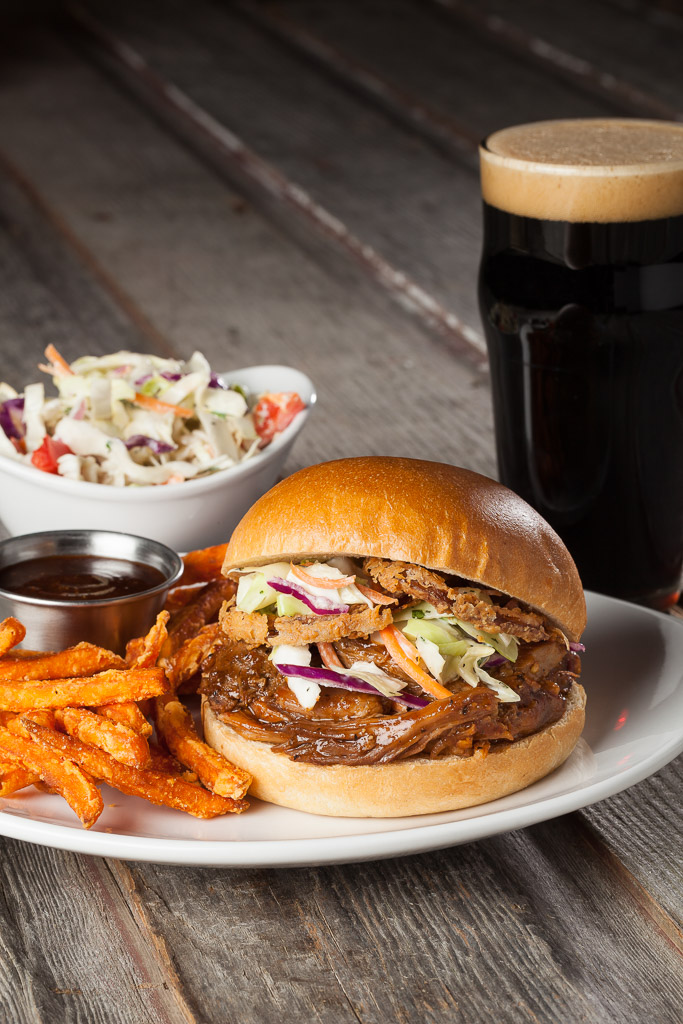 Pulled pork sandwich shot on location at The Rockyard Brewery styled by Michael Deuson in Castle Rock, CO