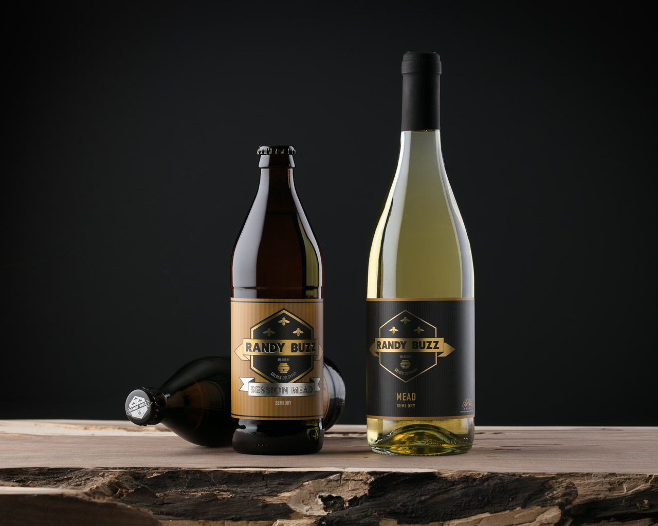 Product photo of Mead by Randy Buzz Meadery shot in studio in Littleton, CO