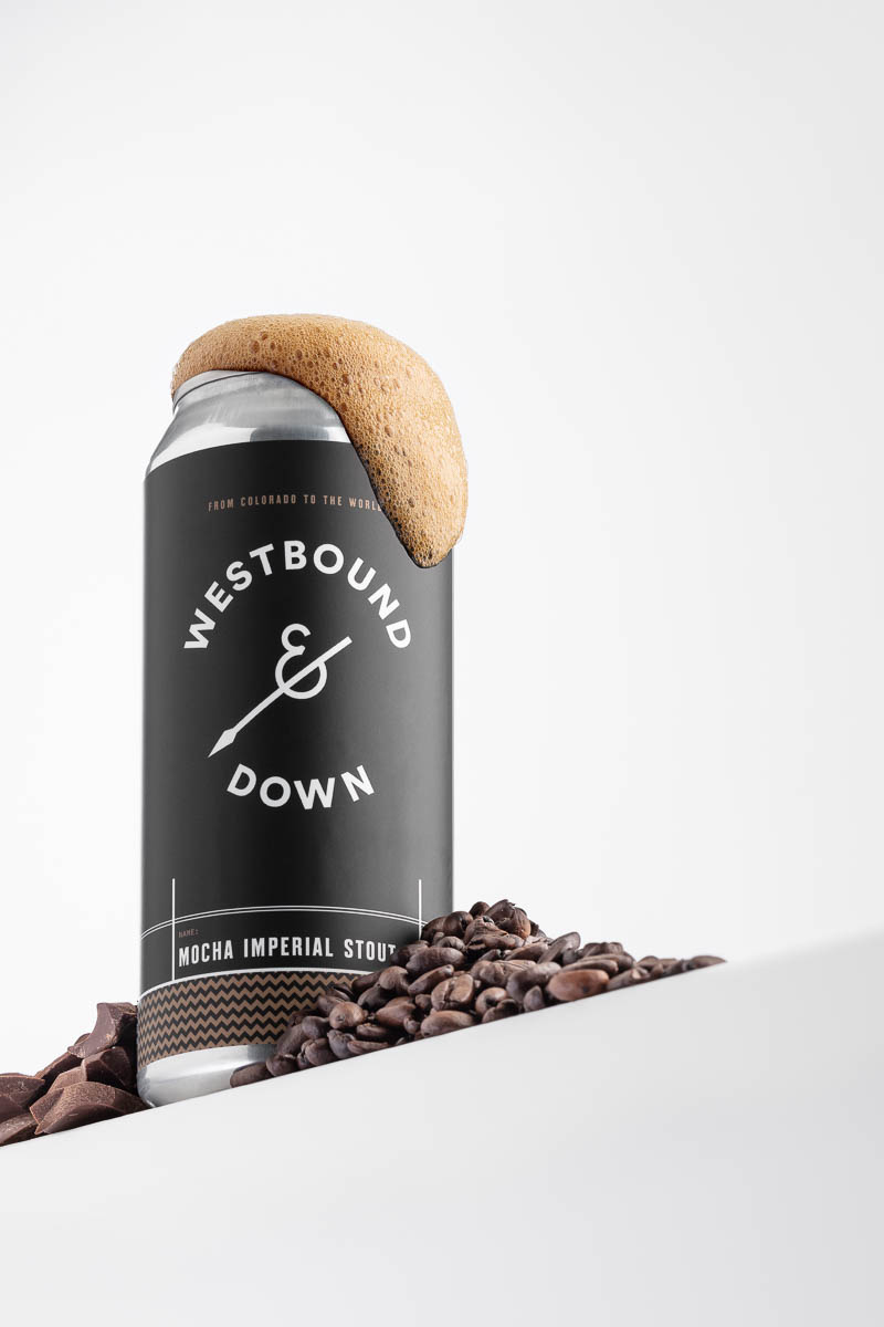 Westbound & Down's Mocha Imperial Stout shot in studio in Littleton, CO
