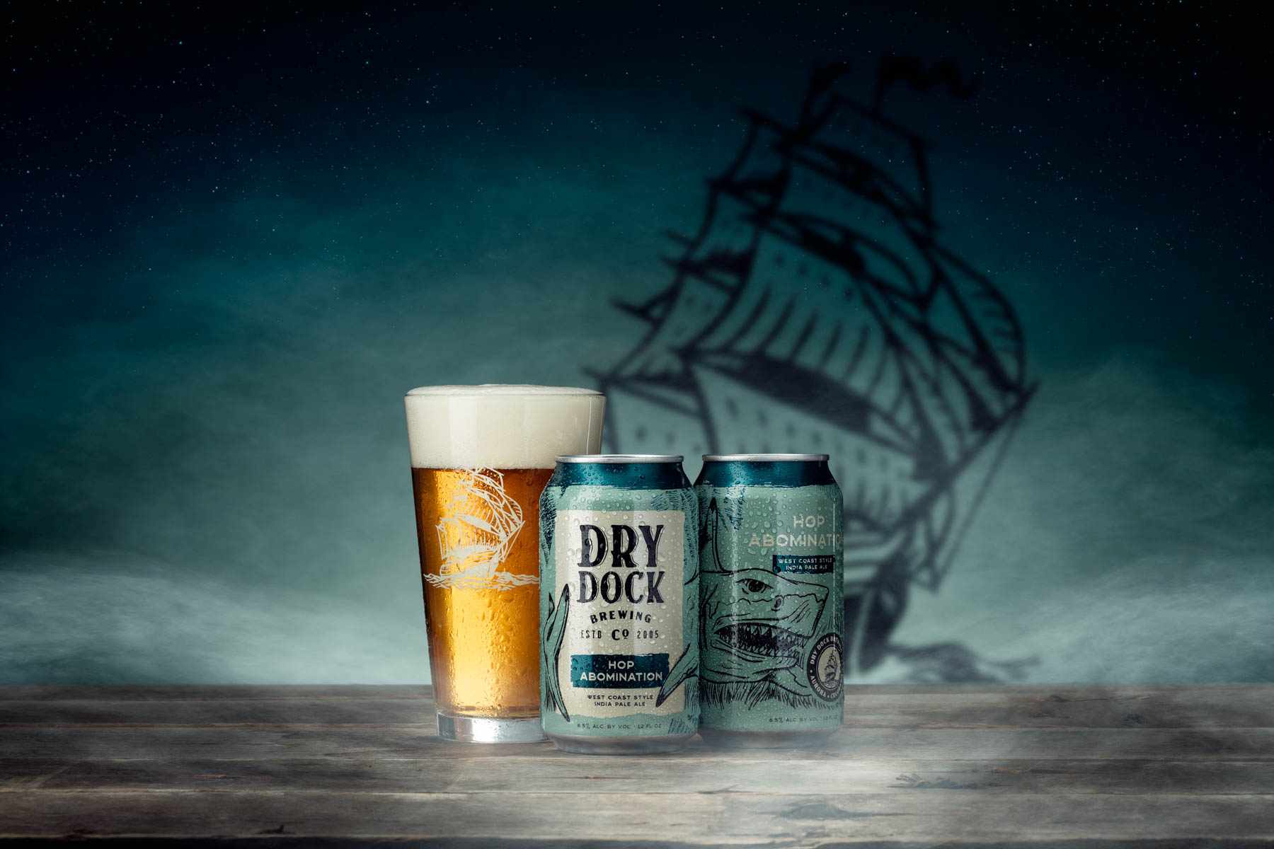 Dry Dock Brewing Hop Abomination images photographed and composited in studio in Littleton, CO for promotional use