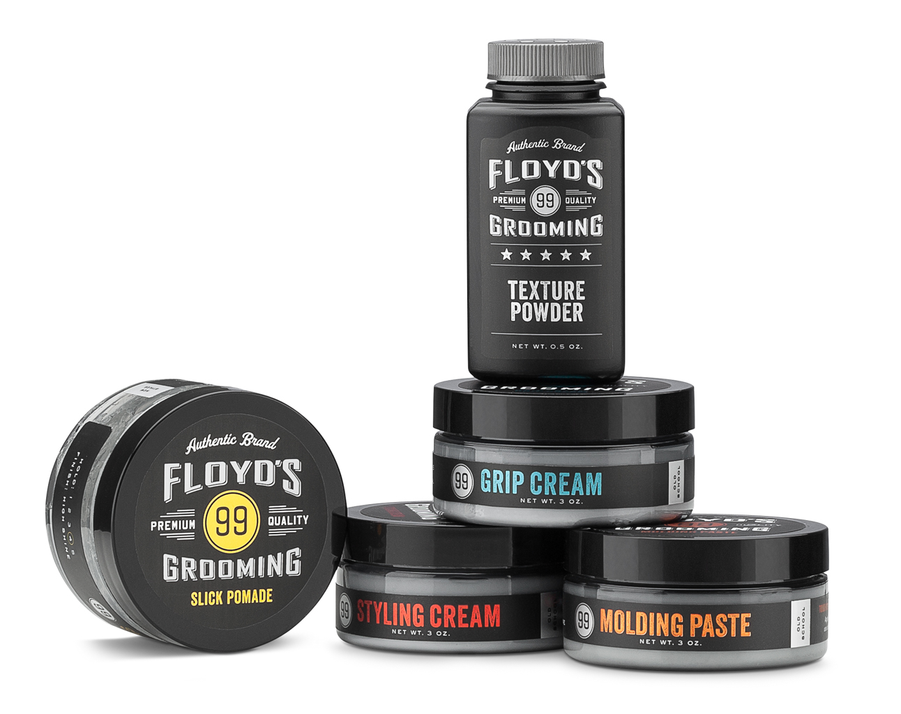Floyds barber shop grooming products styled on a white background